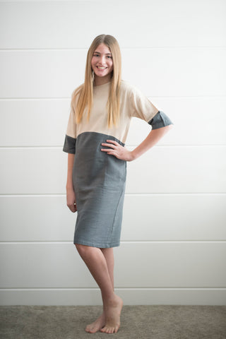Erin Color Block Dress in Charcoal