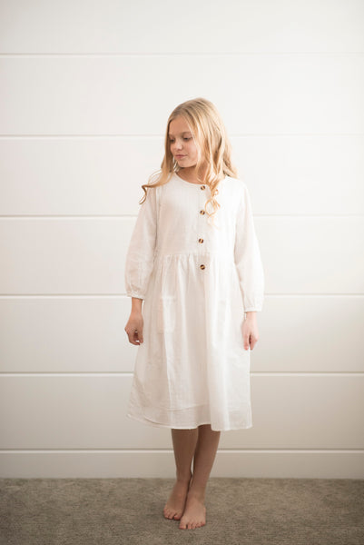 Eloise Button Down Dress in White