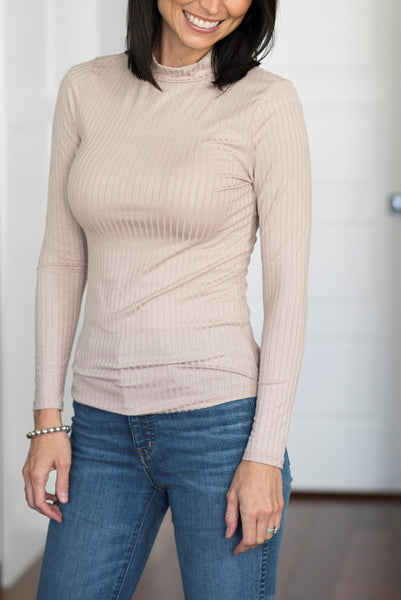 Reese Ribbed Mock Neck in Natural
