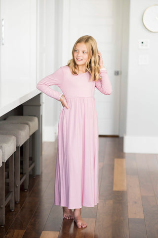 Celine Long Sleeve Maxi in Dusty Pink