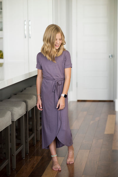 Zulu Wrap Style Dress in Purple Bean