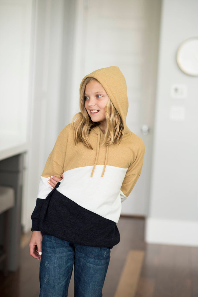Khloe Color Block Hoodie in Navy