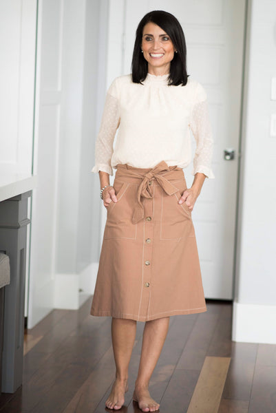 Vicky Paper Bag Skirt in Camel
