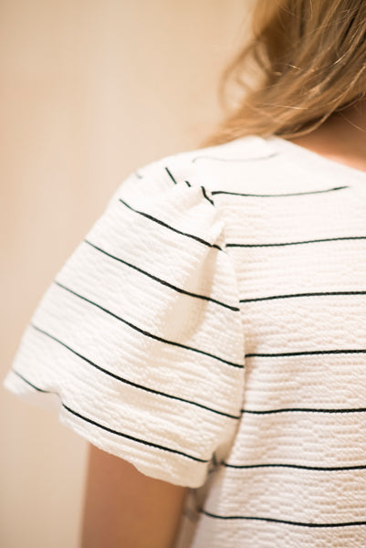Jayla Stripe Puff Sleeve Top in White