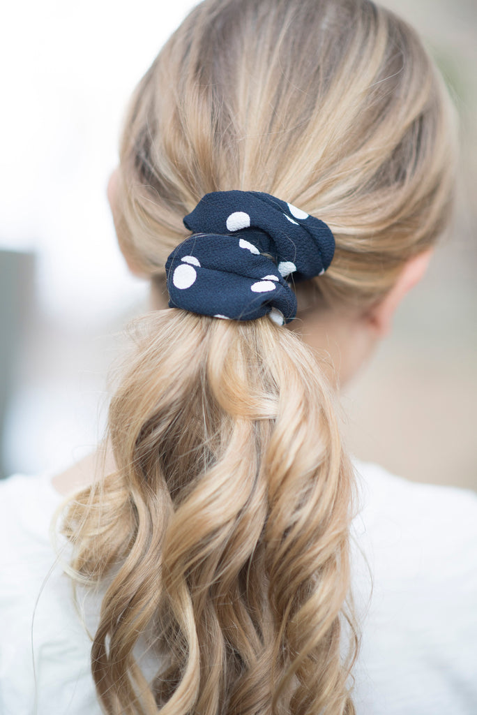 Navy Polka Dot Scrunchie