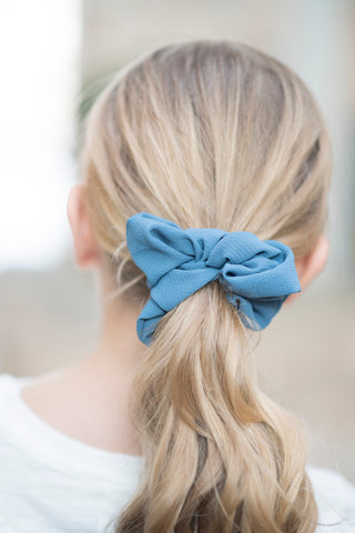 Blue Silk Scrunchie