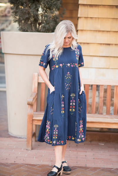 Alina Embroidered Dress in Navy