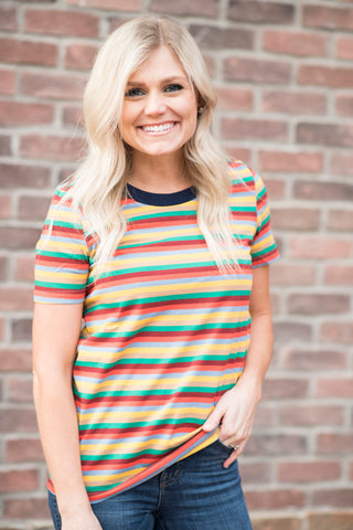 Malia Orange Multi Stripe Tee