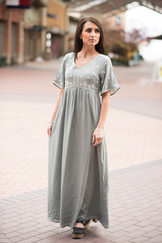Diana Embroidered Maxi Dress in Sage