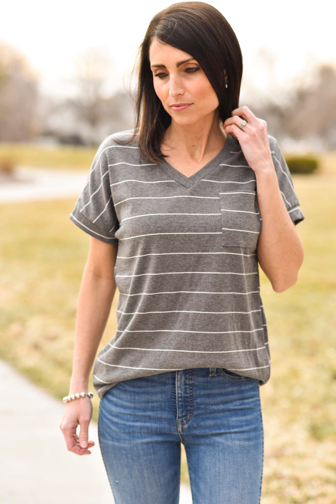 Kristi V Neck in Grey