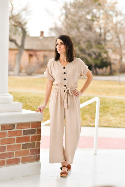 Curtis Button Up Jumpsuit in Taupe