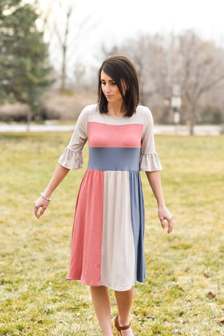 Fawn Colored Stripe Dress
