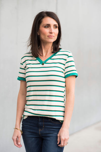 Tanen Stripe V Neck in Green