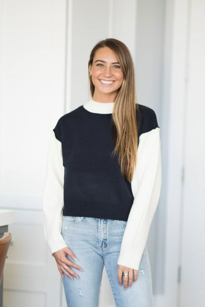 Colorblock Sweater in Navy