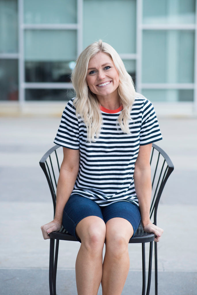 Beck Stripe Tee in Navy