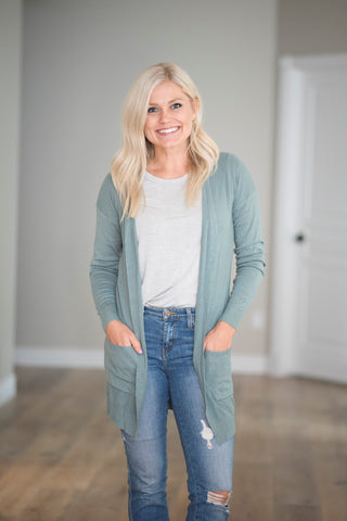 Carly Textured Cardigan in Pale Olive