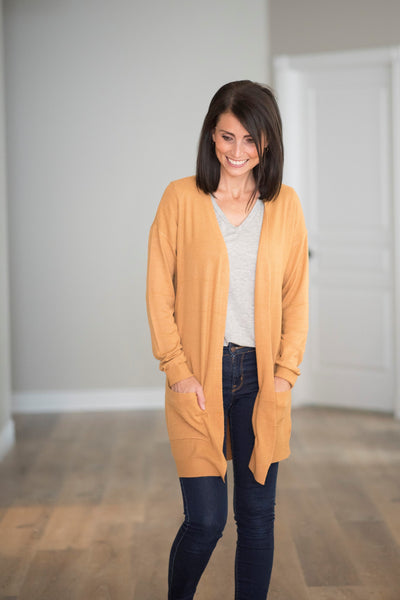 Carly Textured Cardigan in Camel