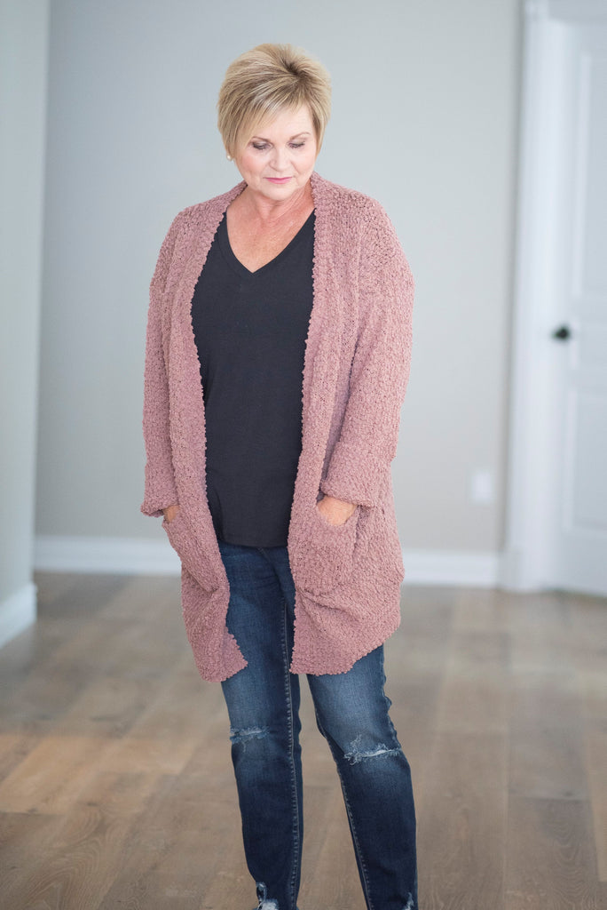 Mary Chunky Textured Cardigan in Ash Rose