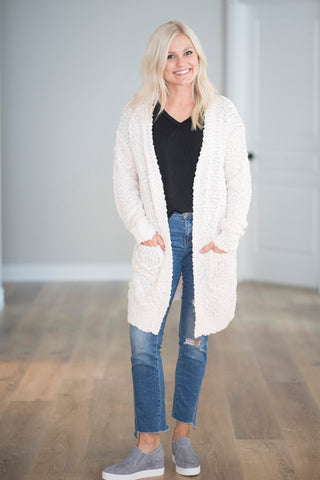 Mary Chunky Textured Cardigan in Cream