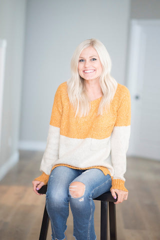 Amanda Color Block Sweater in Mustard