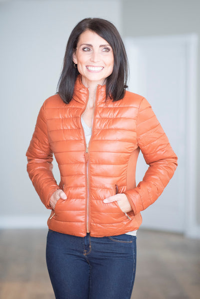 Krystal Puffer Jacket in Rust