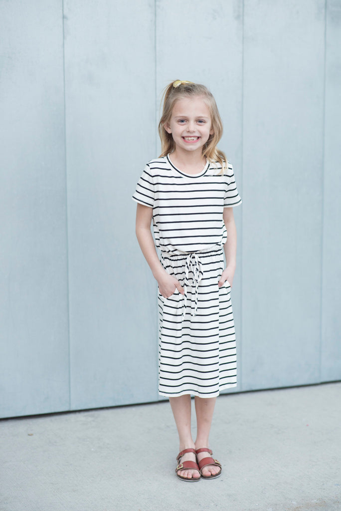 Ezra Midi Dress for Girls Black/White