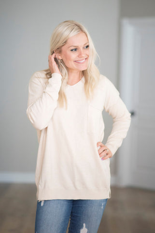 Tessa V Neck Sweater in Oatmeal