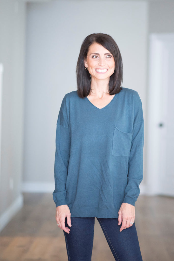 Tessa V Neck Sweater in Teal