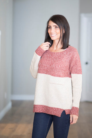 Amanda Color Block Sweater in Red
