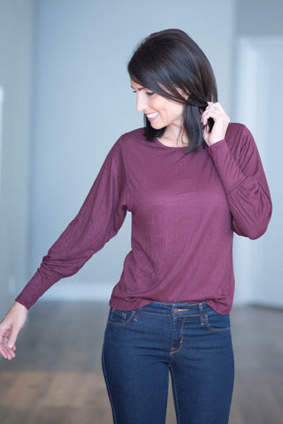 Calia Ribbed Top in Burgundy