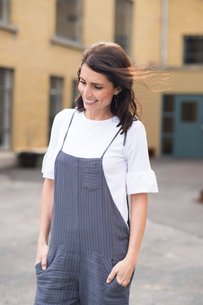 Kasey Striped Overalls in Blue