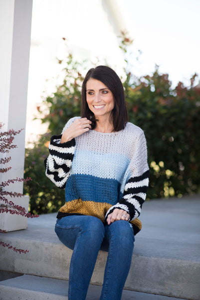 Sawyer Multi Colored Sweater in Blue