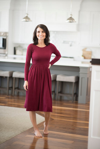 Lilo Long Sleeve Solid Dress in Wine