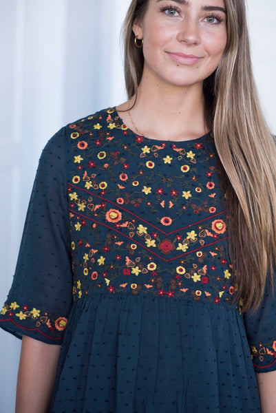 Raychel Embroidered Dress in Navy