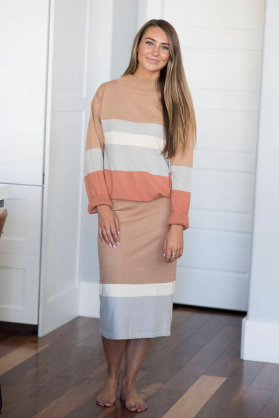 Stripe Sweater Skirt Set