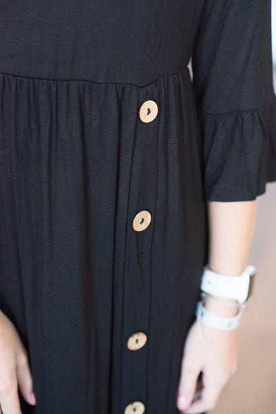 Ginger Bell Sleeve Dress in Black