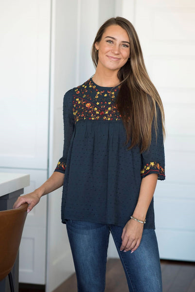 Raychel Embroidered Top in Navy