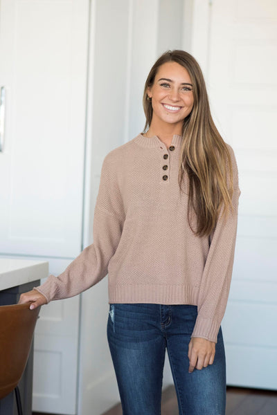 Greyson Textured Button Sweater in Twig