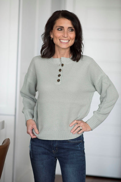 Greyson Textured Button Sweater in Cloud