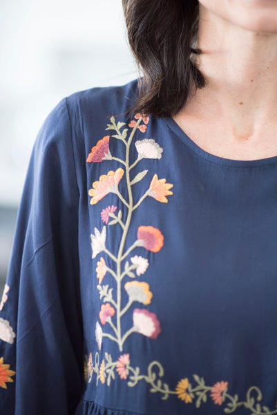 Donya Embroidered Dress in Navy