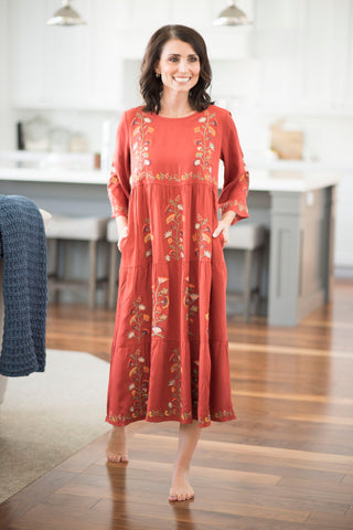 Donya Embroidered Dress in Ginger