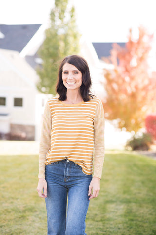 Dixie Stripe Tee in Mustard