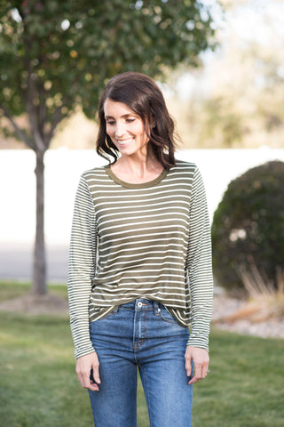 Dixie Stripe Tee in Olive