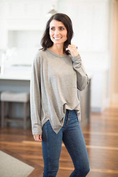 Jen Knit Top in Grey