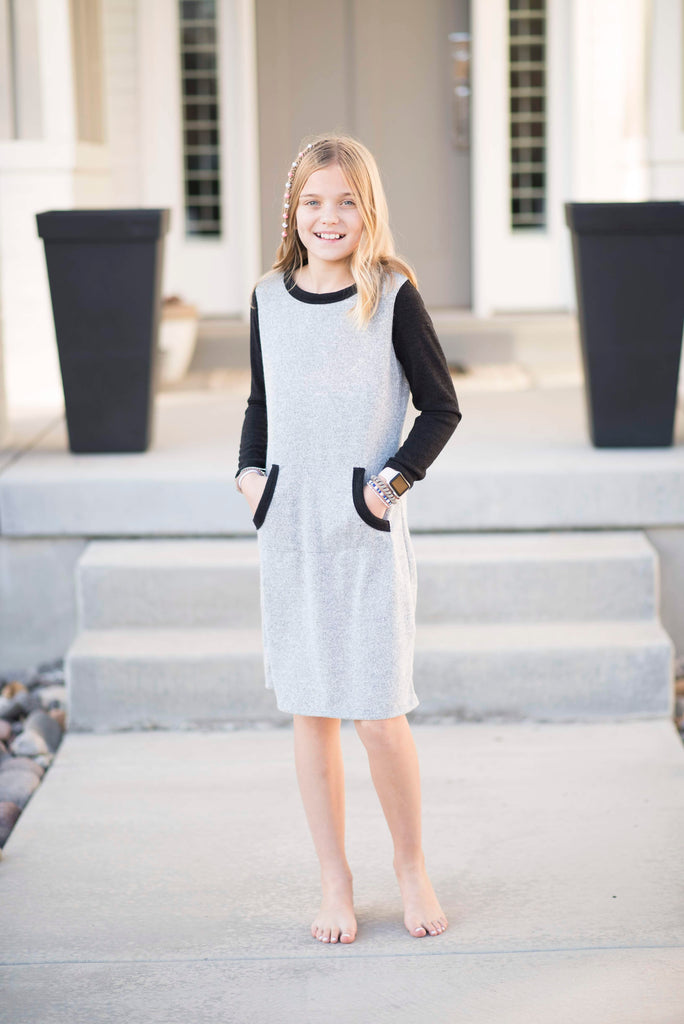 Taylee Sweater Dress in Grey & Black