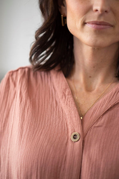 Rosana Tie Front Top in Blush