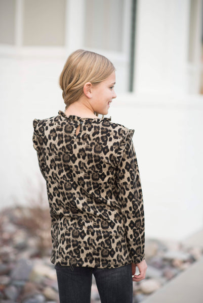 Leopard Ruffle Collar Sweater Top