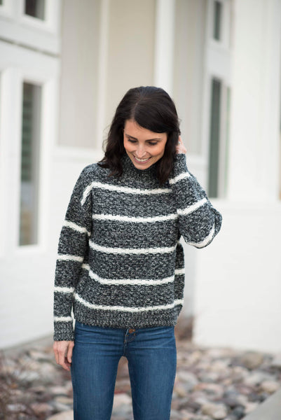 Camie Mock Neck Stripe Sweater