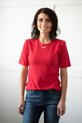 Alta Basic Round Neck Tee in Ruby