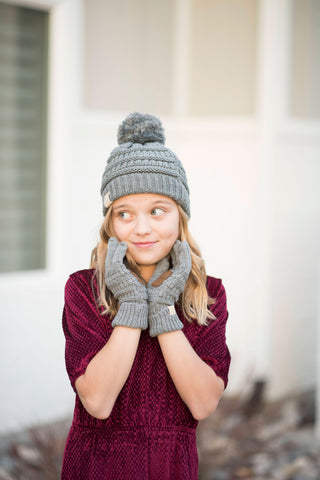 Girls pompom beanie in light grey